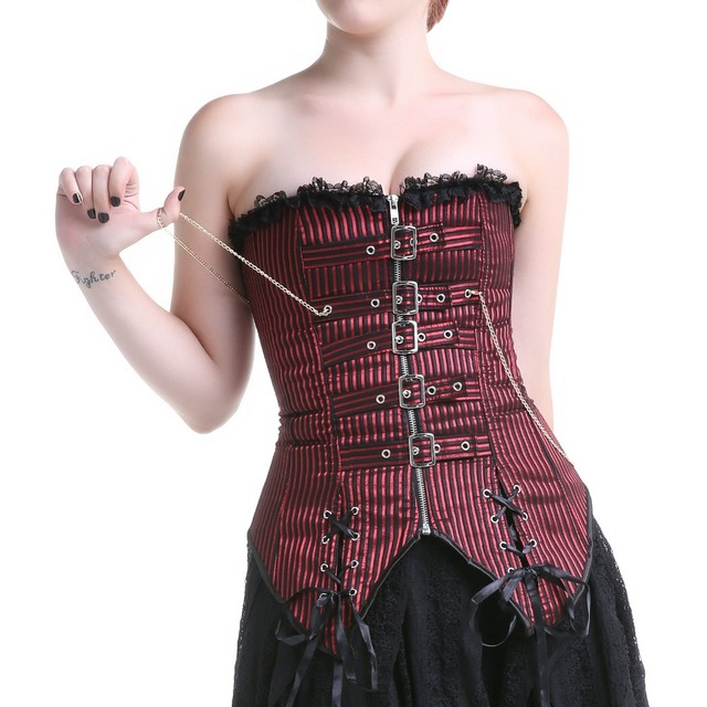 039d781422 Red and black striped corset plus size buckles n chains vintange corset  overbust steampunk lace up gothic front zipper corset
