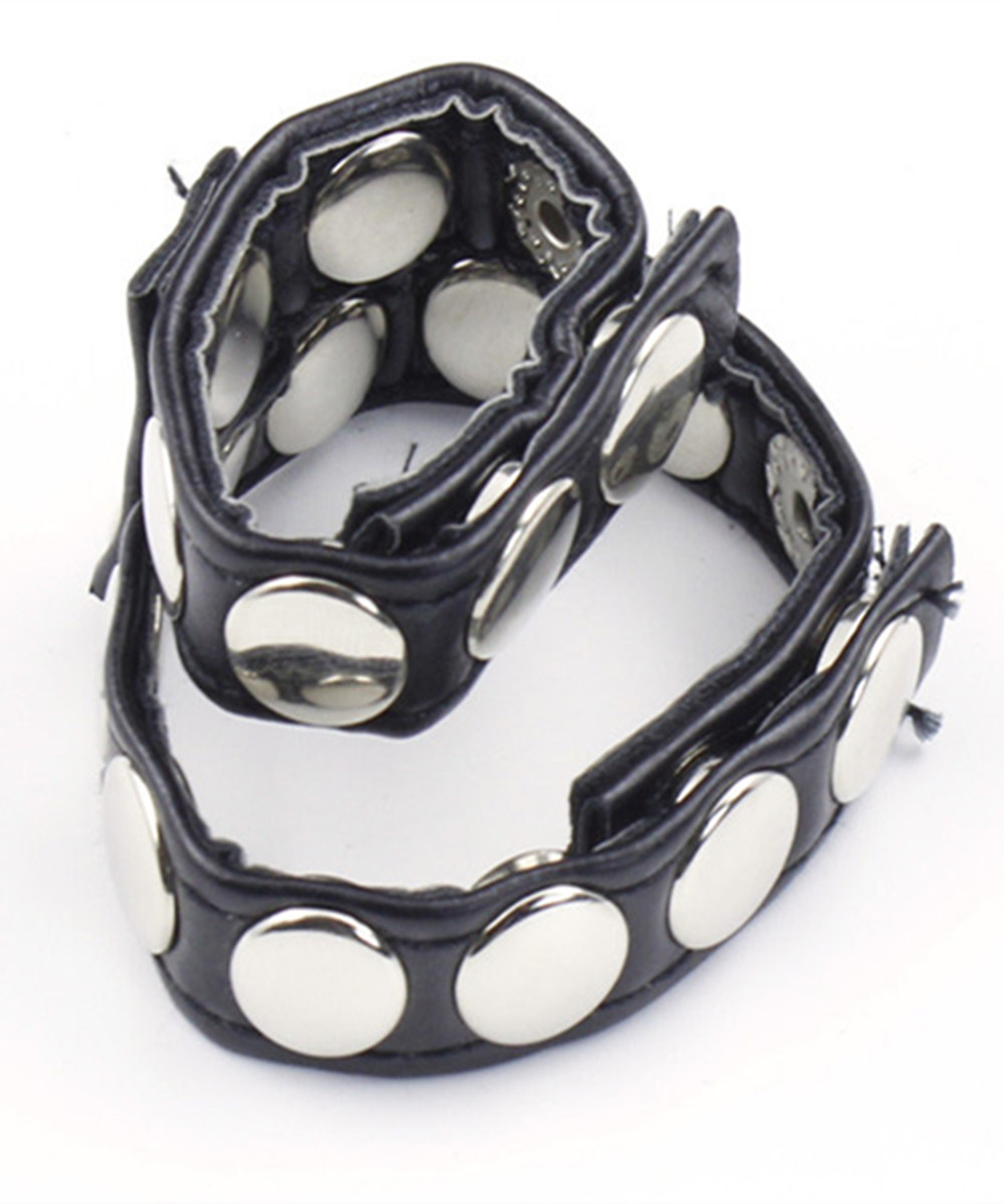 BDSM PU Leather Male Cock Cage Penis Rings Bondage Belt Slave In Adult Games,Fetish Erotic Sex Products Toys For Men - QH144