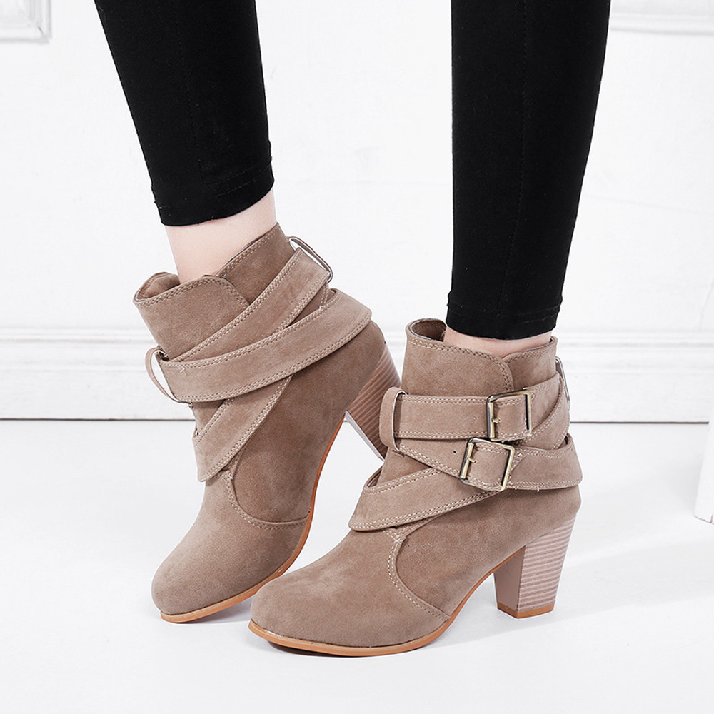 Suede Ankle Shoes High Heeled Warm Fur Plush Insole boots