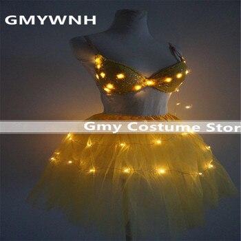 EC59 vestidos de ballet ligeros LED trajes de baile de salón Falda corta luminosa sexy cantante lleva Sujetador bikini fiesta mujeres disco de tela