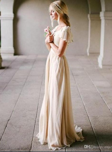 2016 Modest Wedding Dress with Flutter Sleeve Scoop Neck Champagne Vintage Bridal Gowns Outdoor Beach Bride Dresses Simple New