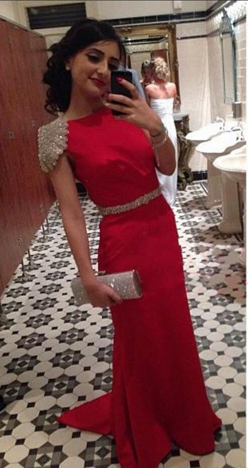 Red long evening dresses sale