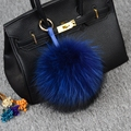 Real fur ball package pendant keychains 15cm solid round Lovely fluffy unisex raccoon POMPOM ball key chains women lovers gift