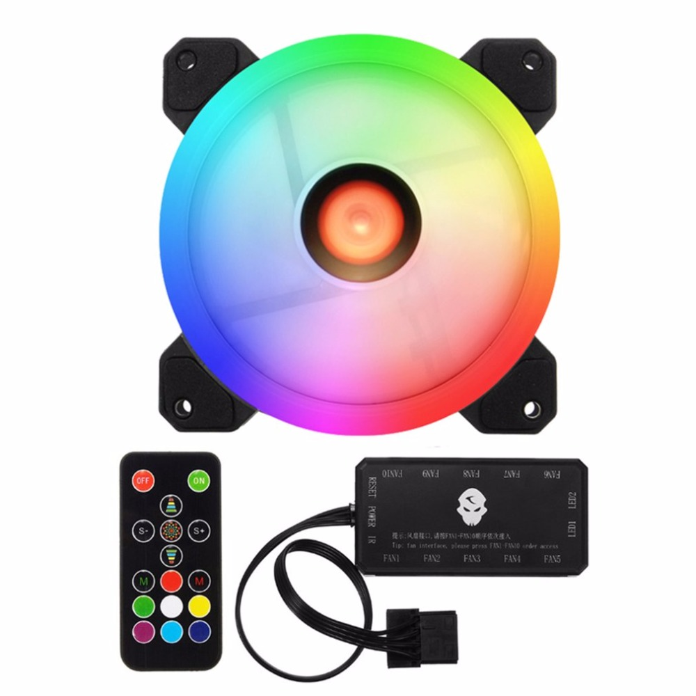 6pcs Computer PC Cooler Cooling Fan Double Ring 366 Modes 10 Level Adjust Speed RGB LED 120mm Fan With Remote Control For CPU the original delta 6056 double motor 6cm high speed turbo fan violence 12v 1 92a gfc0612ds cooling fan free shipping