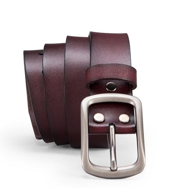 fac54b821b04 FRALU Nowa moda mężczyzna pas pasy projektanta wysokiej jakości prawdziwy  skórzany pasek pin klamra rocznika dżinsy