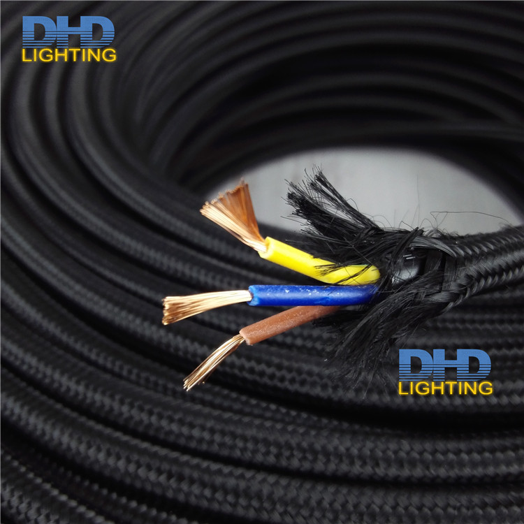 Free shipping 3x075mm 3 cores black fabric electric wire pendant free shipping 3x075mm 3 cores black fabric electric wire pendant lamp cable table lamp power cord diy lighting wire cable in wires cables from lights greentooth Images