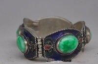 China's Tibet dynasty palace cloisonne silver inlaid jade bracelet fine jewe free shipping