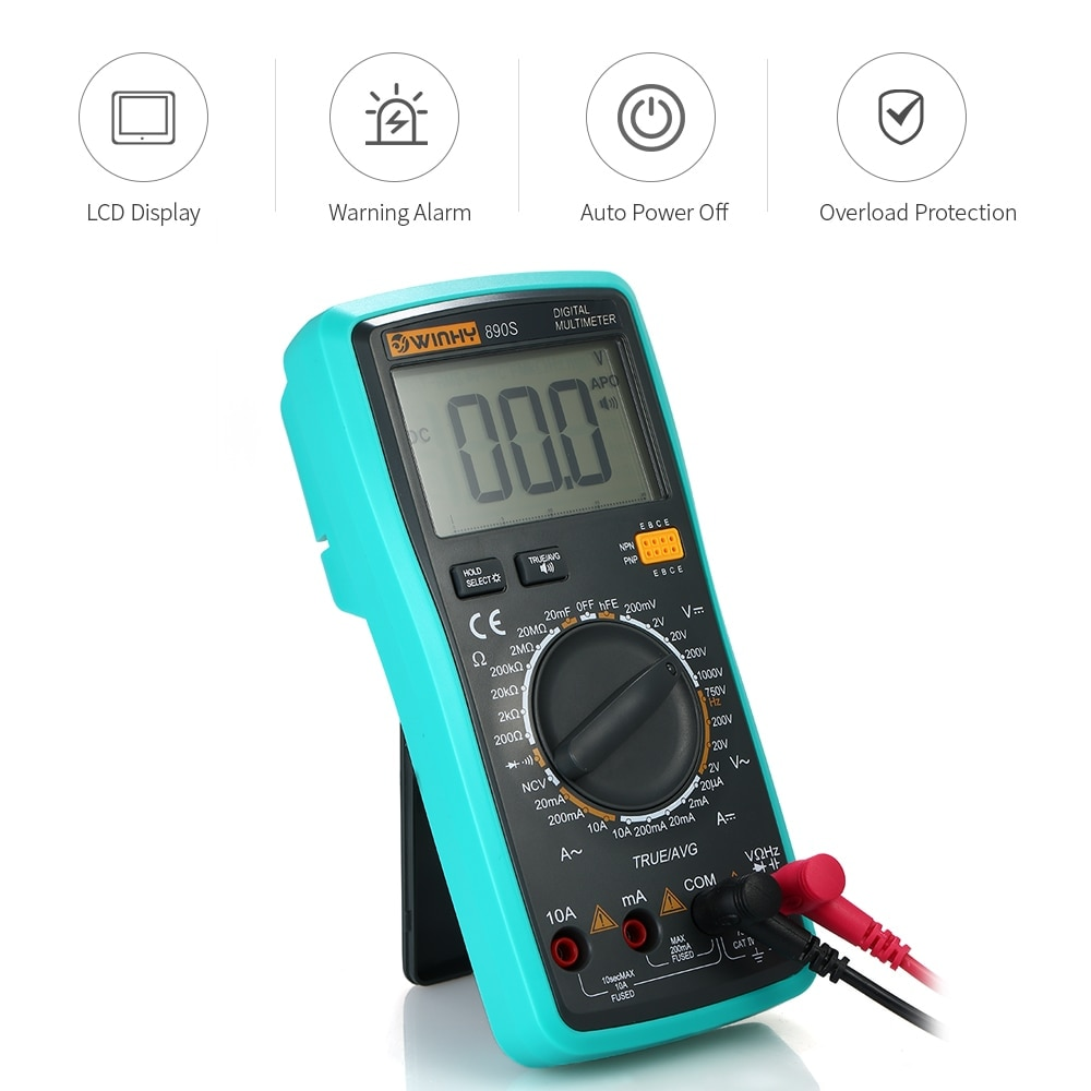 LCD Voice NCV True RMS Digital Multimeter DC/AC Voltage Current Meter Capacitance Resistance Diode Tester electric instrument