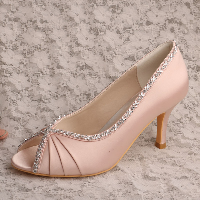 37abb38d0408 Wedopus Hot Selling Blush Satin Wedding Shoes Prom Pumps Pleated Peep Toe  8cm Heel