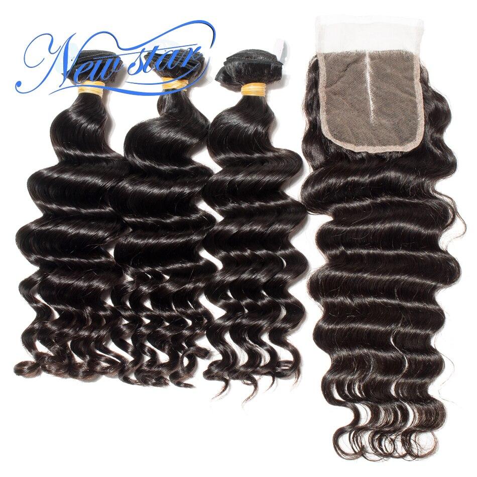 Brasileiro Do Cabelo Virgem Solto Profunda 3 Pacotes Com Um Fechamento 4x4 Rendas Nova Estrela Não Transformados Cabelo Humano de Espessura Tecelagem do cabelo