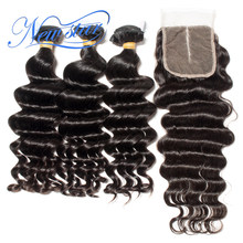 Brazilian Virgin Hair Loose Deep 3 Bundles With 4x4 Lace Closure New Star Hair Unprocessed Thick Human Hair Weaving And Closures(China)