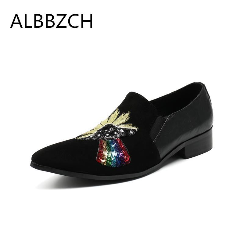 Spring summer new mens fashion patchwork sequin design genuine leather casual shoes men loafers pointed toe slip on party shoesSpring summer new mens fashion patchwork sequin design genuine leather casual shoes men loafers pointed toe slip on party shoes