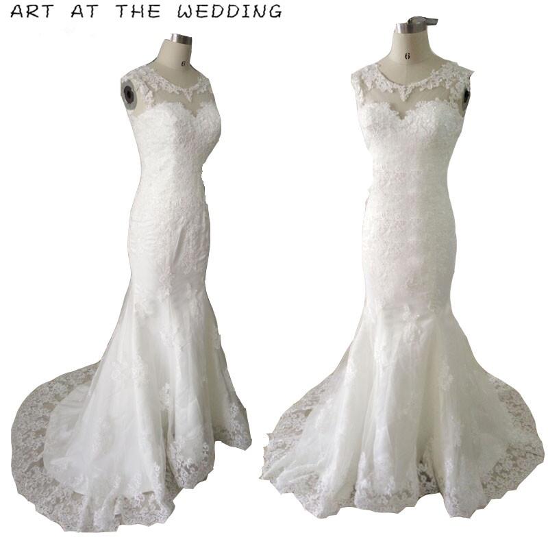 White Lace Wedding Dress Court Train Appliques Mermaid Wedding Dresses Elegant Bride Dresses Vestidos De Baratos Wedding Gowns