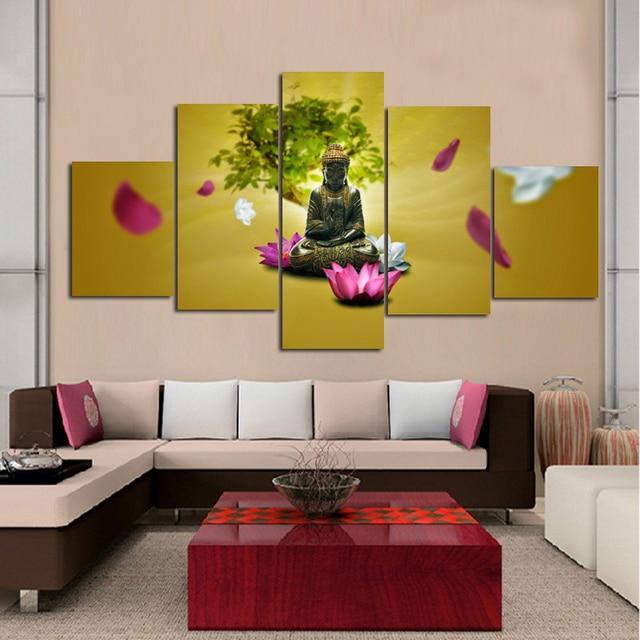 US $20.99 |Wandkunst Leinwand Kostenloser Versand 5 Stück Große Wohnzimmer  Ölgemälde Gedruckt Ungerahmt Buddha Und Seerose Raumdekoration in Wandkunst  ...
