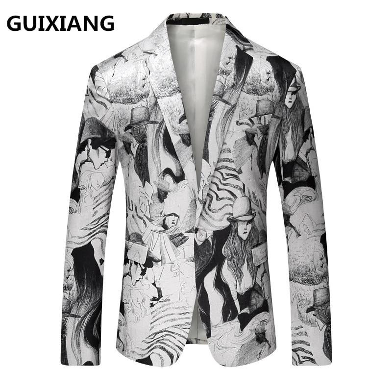 2017 nouveaux hommes blazer loisirs haute qualité costumes peinture à l'encre motif décoratif blazers hommes vestes, hommes flanelle blazers