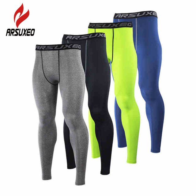 Camadas de Base De Compressão De Homens ARSUXEO Execução Elásticas Justas  Calças Leggings Roupas de Fitness b6adc6e245b65