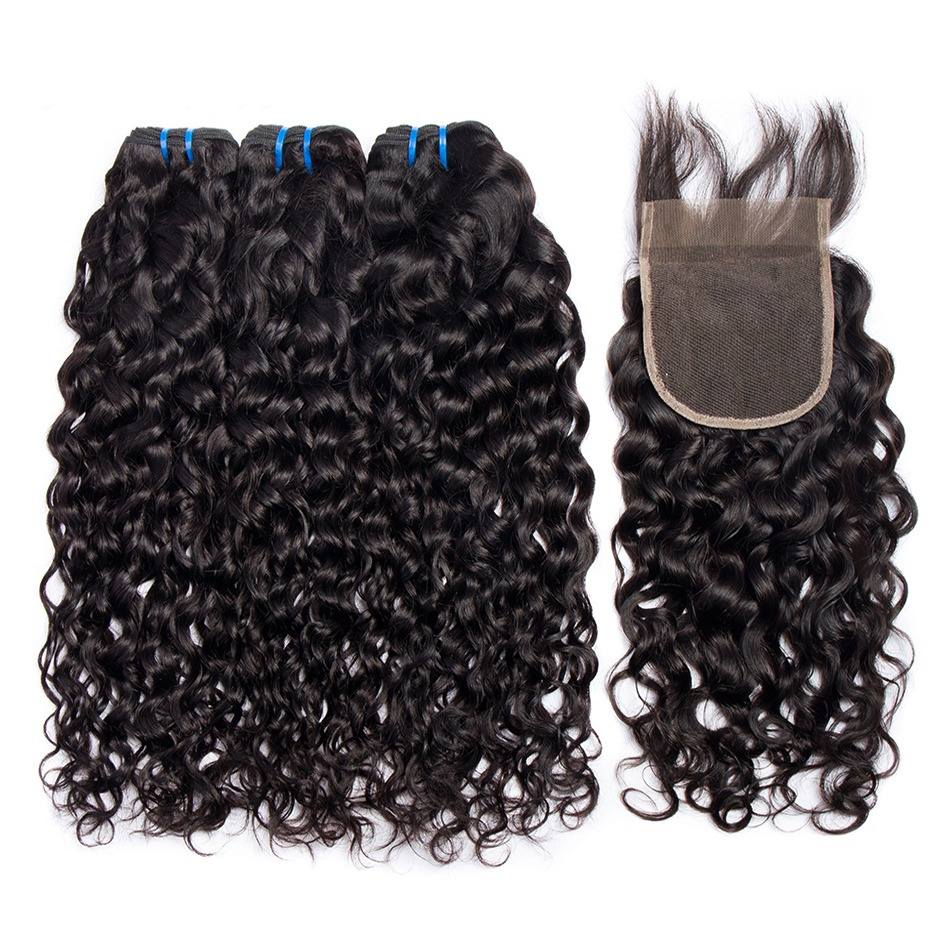 Alibele Hair Brazilian Water Wave Bundles with Closure 100 Human Hair Bundles With Closure Remy Hair