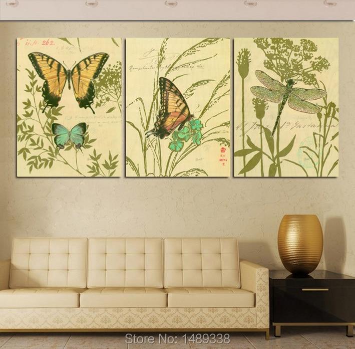 Enmarcado 3 Paneles Moderna Enorme Pintura Combinación Sala de ...