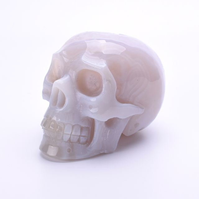 4.7'' Natural Agate Geode Crystal Skull Carving Figurine Healing Energy Quartz Crystal Skull Statue Feng Shui Home Decoration