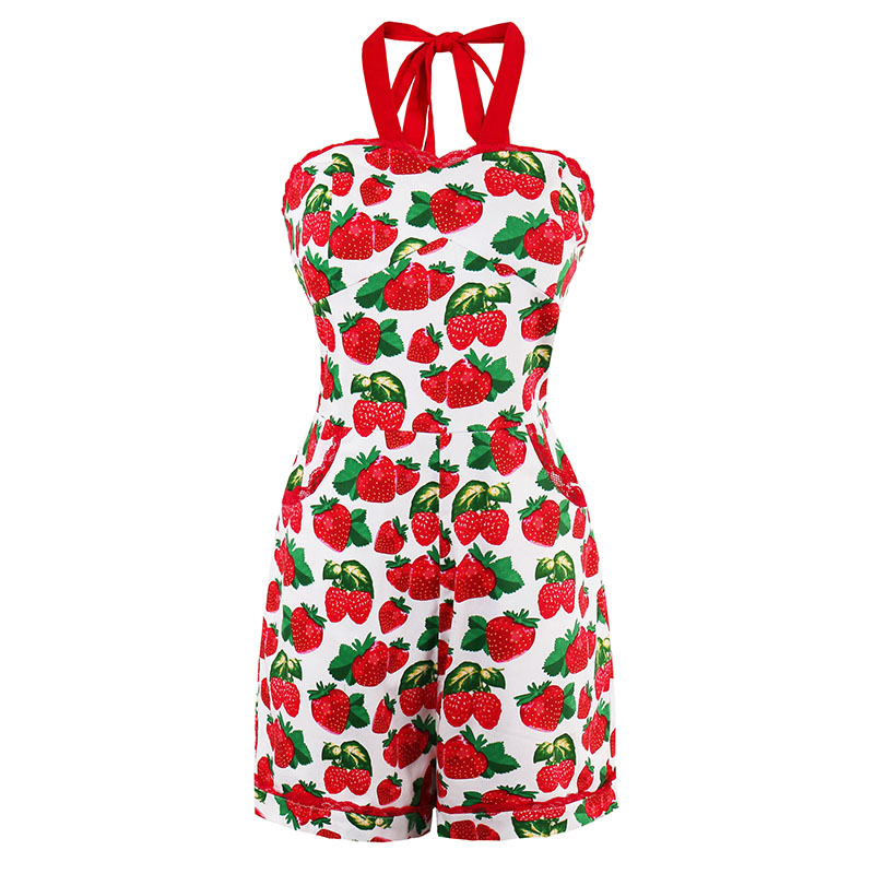 Vintacy Summer Women Vintage Playsuits Suspenders Shorts Jumpsuit Pin Up Strawberry Print Sexy Bodycon Playsuits Sleeveless