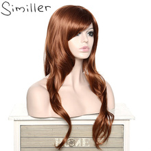 Similler Women Long Curly Side Bang Hair Brown Heat-resistant Synthetic Wig Fake Hair