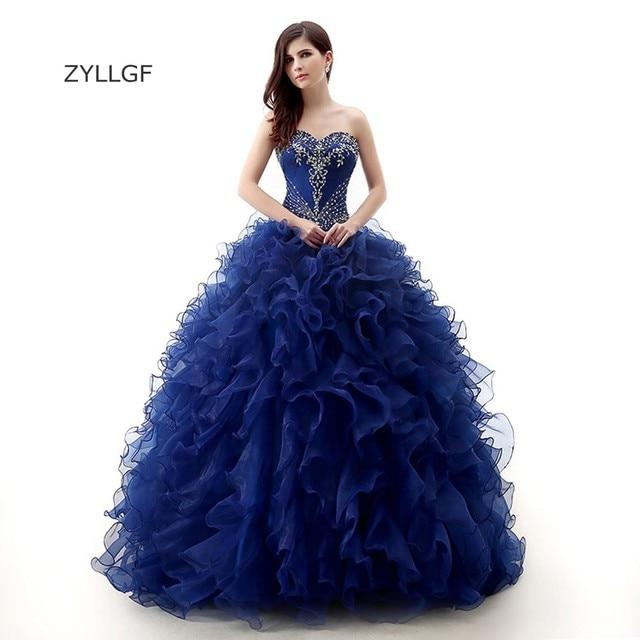 80c9d063f2 ZYLLGF Mother Gown Ball Royal Blue Ball Gown Sweetheart Ruffle Orangza  Sweet 16 Crystal Corset Dress Wedding Party Dress Q218