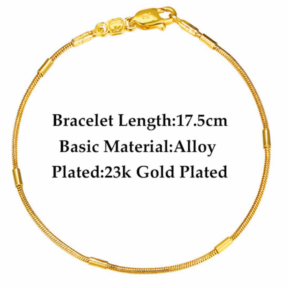 Women's Bracelet 2018 Wholesale Braslet Trendy Gold Color Hand Chain Link Bracelet For Women Fashion Jewelry Gift
