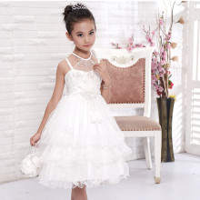 Girls Flower Girl Dress For Wedding Party Pearl Decorated White Fancy Tiered Girls Party Vestidos For 10 Year Old KD-14259