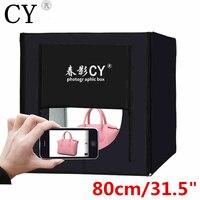 CY 80*80 см светодиодный Фотостудия софтбокс стрельба свет палатку софтбокс Портативный сумка + адаптер переменного тока для ювелирных издели