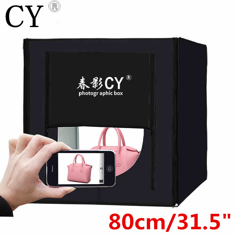 CY 80*80cm LED Photo Studio Softbox Shooting Light Tent Soft Box Portable Bag+AC Adapter for Jewelry Toys Shoting Fast Shipping cy 70 70 70cm led photo studio softbox shooting light tent soft box portable bag ac adapter for jewelry toys shoting