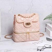 Women Jelly PVC Backpacks Cnady Color Back Pack Fashion diamond lattice Lolita Teenage Girls Bags For School Rucksack Mochila
