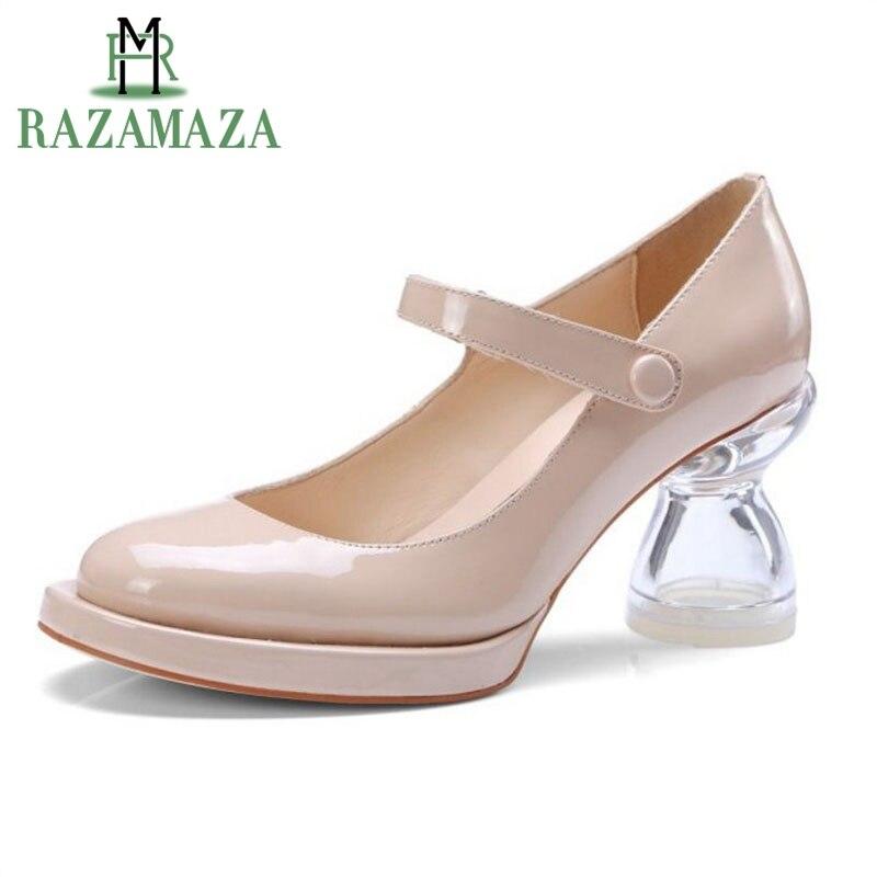 RAZAMAZA Women High Heel Pumps Real Leather Transparent Crystal Heels Round Toe Shoes Woman Korean Party Footwear Size 34-39RAZAMAZA Women High Heel Pumps Real Leather Transparent Crystal Heels Round Toe Shoes Woman Korean Party Footwear Size 34-39