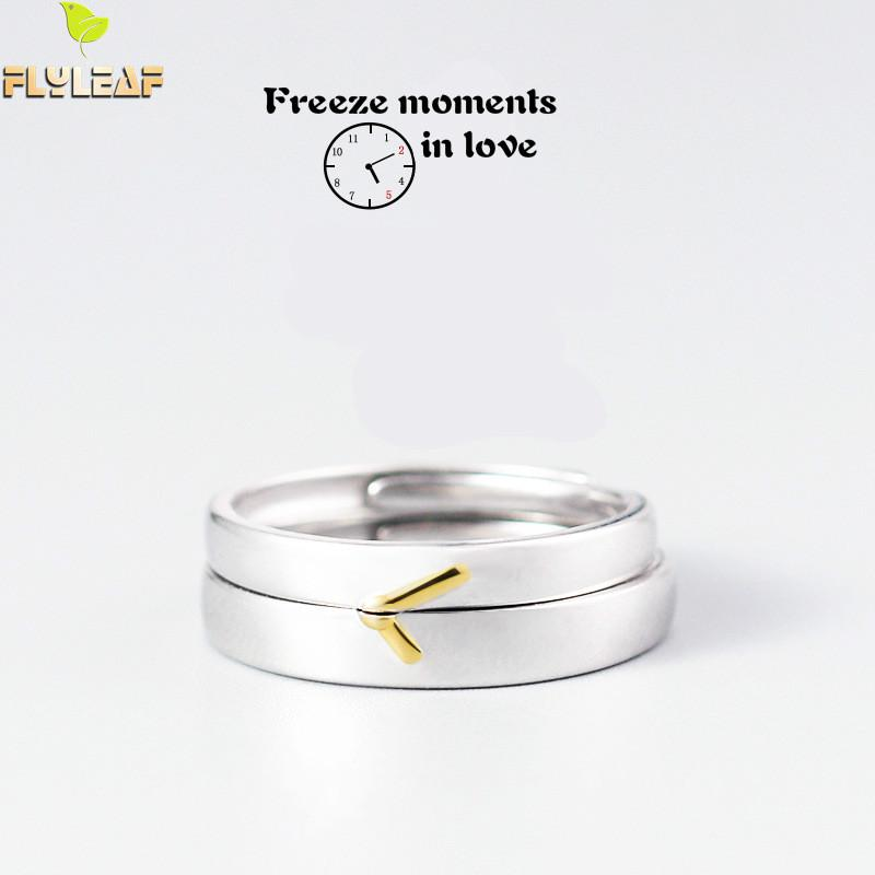 100 925 Sterling Silver Rings For Women Simple Golden Hour And Minute Couple Open Ring Men Femme Jewelry Love 39 s Gift in Rings from Jewelry amp Accessories
