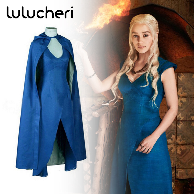Game of Thrones Cosplay Costume Daenerys Targaryen Sexy Dress Cloak for Women Adult Halloween Party Suits Stage Performance Wear