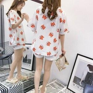 Image 5 - Пижамный комплект Bangtan Boys, летняя пижама с принтом в стиле Харадзюку, кавай, Kpop, аниме, ТАТА в форме сердца, пижама, женская одежда для сна Chimmy Cooky Sleeepwear