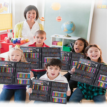 168pcs children watercolor pen and pigment for drawing toys/ Kids baby drawing toys set include 168pcs different crayon and pens
