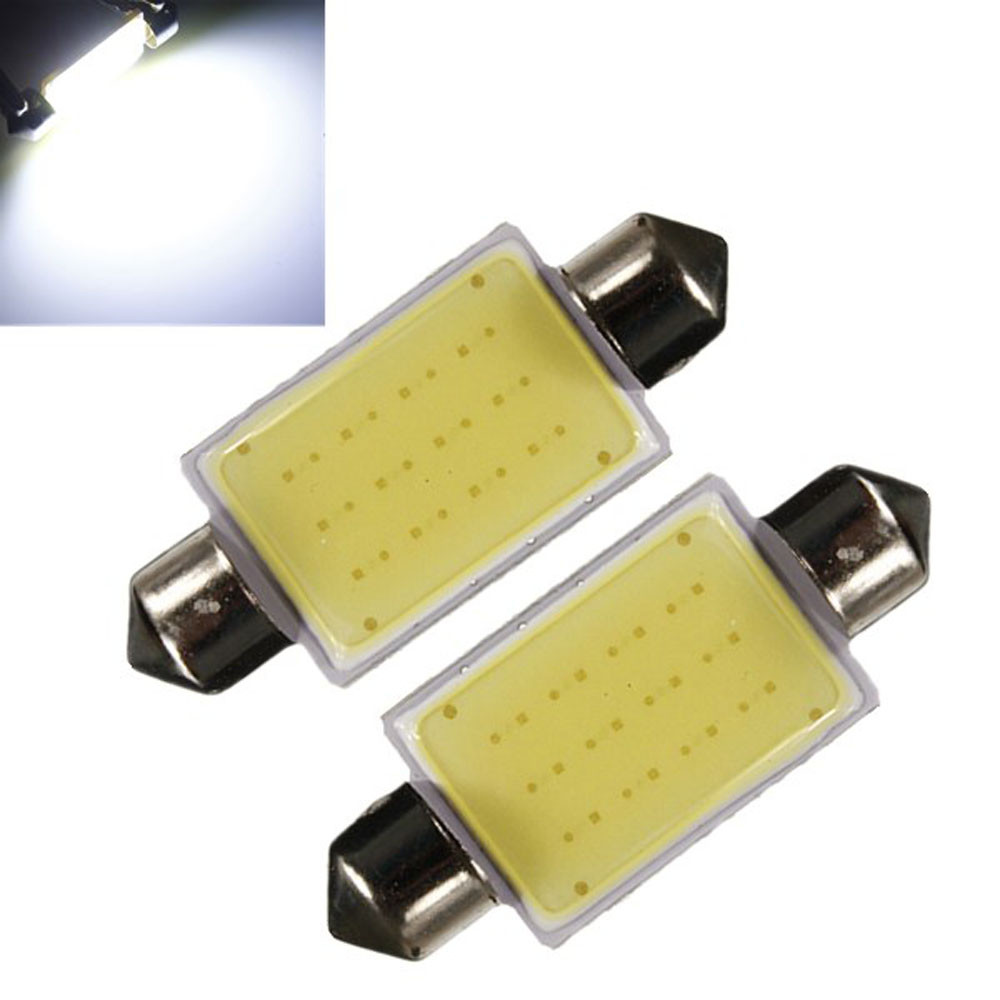 2PCS High Quality 42mm Festoon COB 12 CREE Chips DC 12V Universal LED Car Dome Reading Lights License Plate/Door/Backup Lights 2014 new 2pcs 42mm festoon c10w plasma cob smd led canbus sv8 5 dome map trunk lights bulbs free shipping