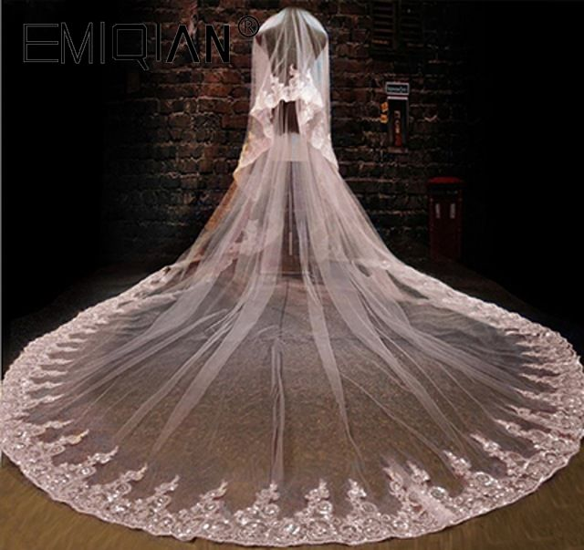 Wedding Accessories Hot Sale 3 Metre Long Bridal Veil One Layer Siver Bone Lace Applique White Tulle Wedding Veils