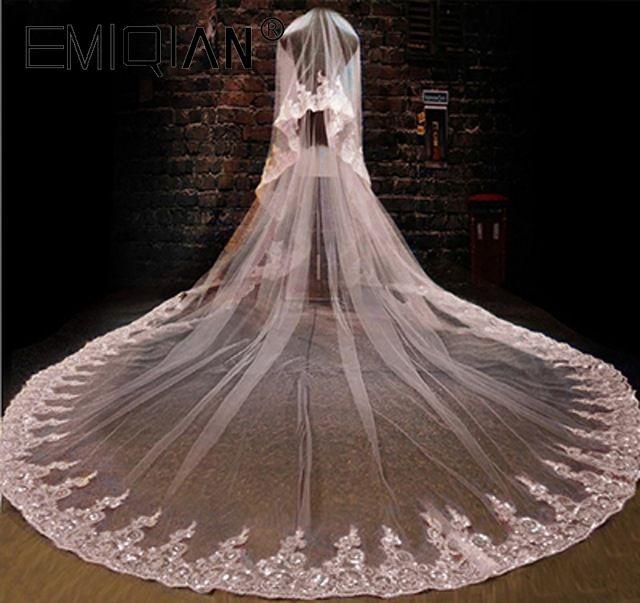 Wedding Accessories Hot Sale 3 Metre Long Bridal Veil One Layer Siver Bone Lace Applique White Tulle Wedding Veils