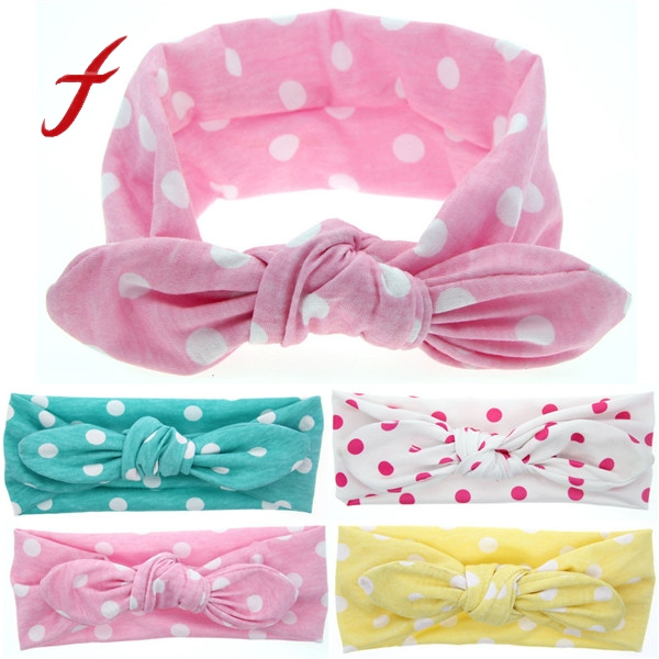 New Baby Rabbit Ears Elastic Big Wave Point Bowknot Headband Girls Children Hair Accessories Fashion Head Band Headdress fashion toddler girls baby american flag pattern cute rabbit ears headband