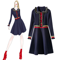 Early spring new wholesale doll collar ear edge knitting dress striped knitted navy blue dresses women long sleeve dress