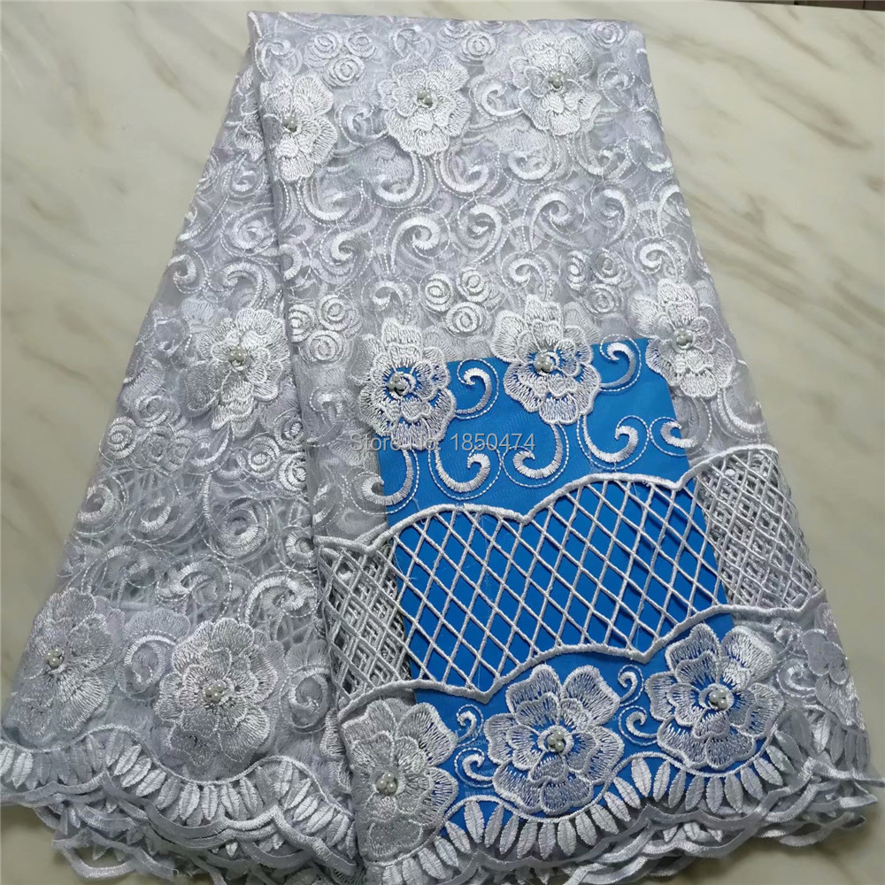 Newest White African Tulle Lace Fabrics With Beaded Embroidery Net Lace African French Lace High Quality
