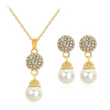 Crazy Feng Trendy Pendant Necklace Earrings Set Gift for Women Simulated-pearl Crystal Jewelry Sets Gold-color Necklace Earring