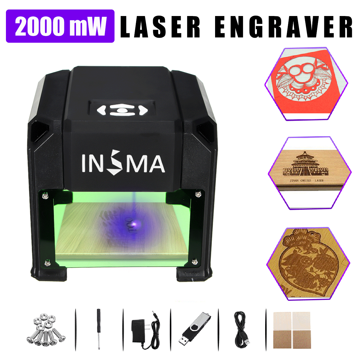 все цены на 2000 mW USB Desktop Laser Engraver 80x80mm Engraving Range DIY Logo Mark Printer CNC Cutter Laser Engraving Machine Home Use онлайн