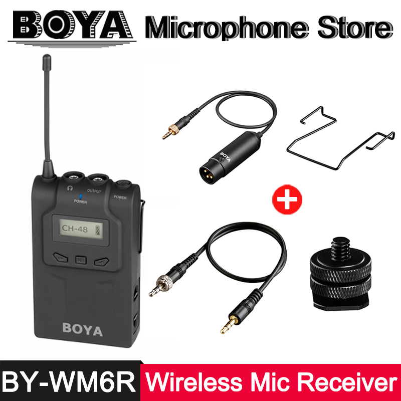 BOYA BY-WM6R UHF Wireless Microphone Receiver OLED Display for BY-WXLR8 BY-WHM8 BY-WM8T BY-WM6T Transmitter ENG EFP Interview