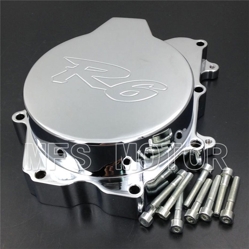 ФОТО Motorcycle Left side Engine Stator cover For  Yamaha YZF R6 2003 2004 2005 2006 YZF-R6S 2006 CHROME