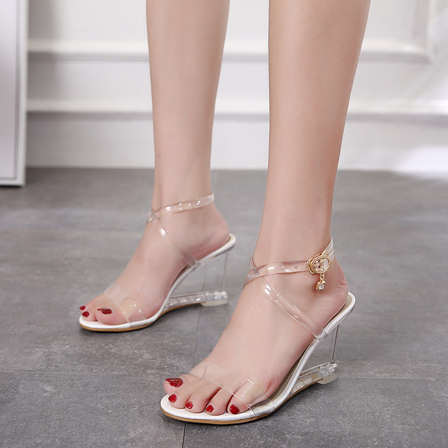 Dwayne 2019 new wedges sandals for women summer sweet transparent high-heeled PVC slippers Peep Toe Stiletto Sexy Wedding ShoesDwayne 2019 new wedges sandals for women summer sweet transparent high-heeled PVC slippers Peep Toe Stiletto Sexy Wedding Shoes