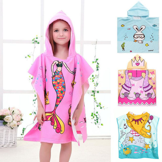 Baby Hooded Bath Towel Poncho Children Kids Bathrobe Towels Bath Robe Quick Dry Absorbent Microfiber Travel Sports Beach Towel(China)