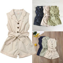 Baby Girls Kids Clothes Bow-tie Waist Overall