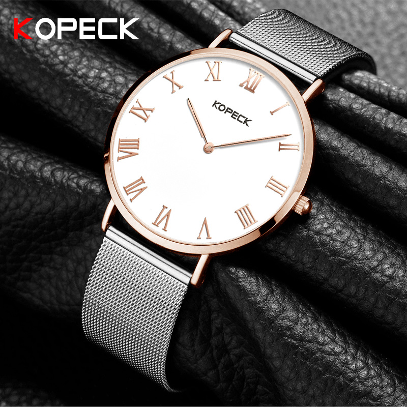 KOPECK Brand Rose Gold Quartz Women Watches Luxury Steel Clock Bracelet Ladies Wrist Watches Female Sport Relogio Reloj W6012